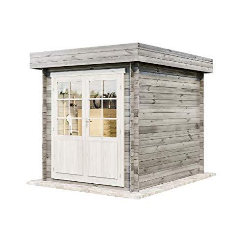 Alpholz Gerätehaus Cuxhaven-28 B aus Massiv-holz | Gartenhaus mit 28 mm Wandstärke | Garten Holzhaus inklusive Montagematerial | Geräteschuppen Größe: 250 x 320 cm | Flachdach