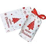 Nuluxi Bolsitas de Regalo Navidad Plástico con Cordón Reutilizable Bolsa de Dulces Navidad con Cordón Set de Bolsas Reutilizables para Caramelos Dulce Galletas (Árbol de Navidad)