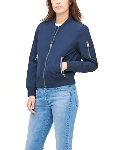 Levi's Women's Poly Bomber Jacket with Contrast Zipper Pockets, Navy, Small