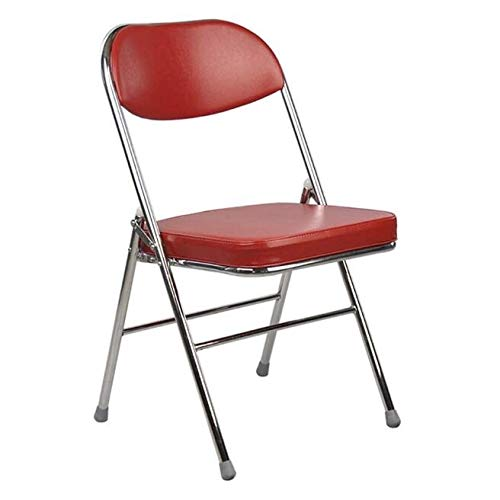 ZCL Folding Chairs for Outide Lightweight Set of 2 Folding Chair Metal Folding Stool Collapsible Conference Chair - PU Leather and Metal Frame, Suitable for Home Office Waiting Room Reception Folding