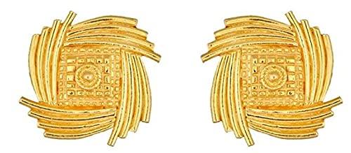Oro fino amarillo sólido certificado de 22K/18K Cuadrado Diseño Aretes Disponible en oro fino de 22 quilates y 18 quilates, Para mujeres, niñas, niños, regalos