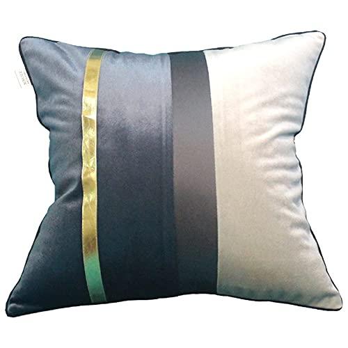 QXbecky Fundas de Cojines Funda de Almohada Cuadrada Azul Oscuro, Color café, Gris Oscuro, línea púrpura (sin núcleo) Accesorios de decoración de sofá Minimalista Moderno 60cm