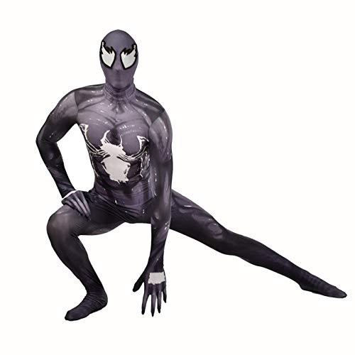 MODRYER Spider-man Cosplay Fancy Dress Jumpsuit Venom Symbiote Siamese Tight Superhero Onesies Halloween Party Outfit Child Adult Lycra Spandex Zentai,Black-Adults/L 160~175cm