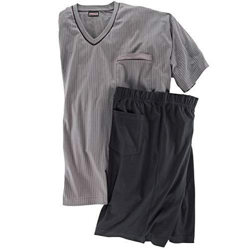ADAMO Fashion Übergrößen Herren Kurzer Schlafanzug mit Längsstreifen grau_710 6XL