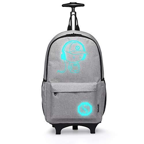 Kono Tiny Trekker trolley per bambini bagaglio a mano trolley con maniglia trolley leggero con ruote valigia a mano,Zaino moda Anime Zaino luminoso per donna (Grigio)