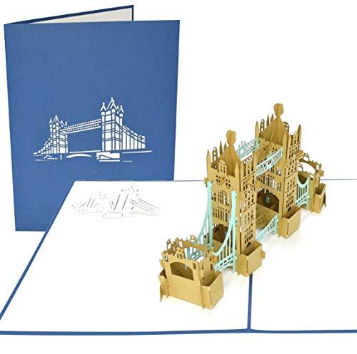 PopLife London Turm-Brücke 3D Pop Up-Grußkarte für alle Anlässe - UK-Reisende, Architektur- und Geschichtsliebhaber - Flach gefaltet - Geburtstag, Muttertag, Abschluß, Ruhestand, Jahrestag