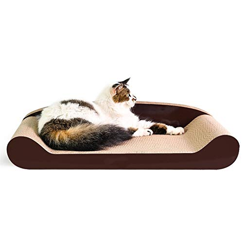EIGHTT Junta Rascar Gato de Papel Corrugado de Nuevo a la Forma del Gato Sofá Junta Rascar 60 cm Animal doméstico del Gato Garra Toy Molienda Alfombras Rascadoras para Gatos para Dormir Jugar