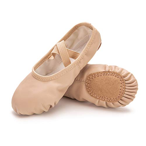 RoseMoli Ballet Shoes for Girls/Toddlers/Kids/Women, Leather Yoga Shoes/Ballet Slippers for Dancing 6 Big Kid Nude