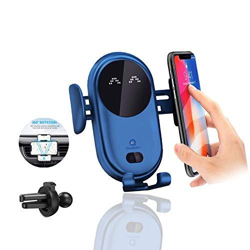 Cargador Inalámbrico Coche, Sensor de Movimiento 360° Wireless Car Charger Soporte con Bloqueo Automático Rápida Salida de Aire Soporte Teléfono Coche para iPhone 12 Pro XR XS 11 8 7 Plus(Azul)