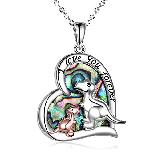 Collar de dinosaurio de plata esterlina Te amo para siempre Collares con colgante de corazón Joyería de dinosaurio para madre e hija Regalos para mujeres niñas Madre Hija Mamá