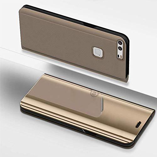 Preisvergleich Produktbild Miagon Spiegel Standing Schutzhülle für Huawei P9,  Transluzent Aussicht PC-Vorderseite Metall-Galvanotechnik Gold Stilvolle Brieftasche Schale Etui für Huawei P9