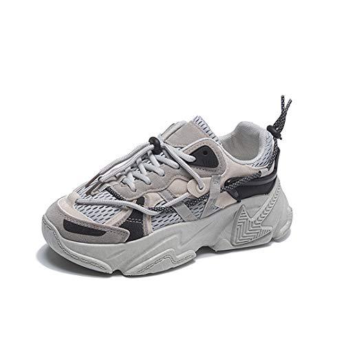 DogensHonz Malla Transpirable para Mujer Tacones Gruesos Zapatillas de Deporte al Aire Libre Zapatos de Plataforma Informal para Mujer Brown 37