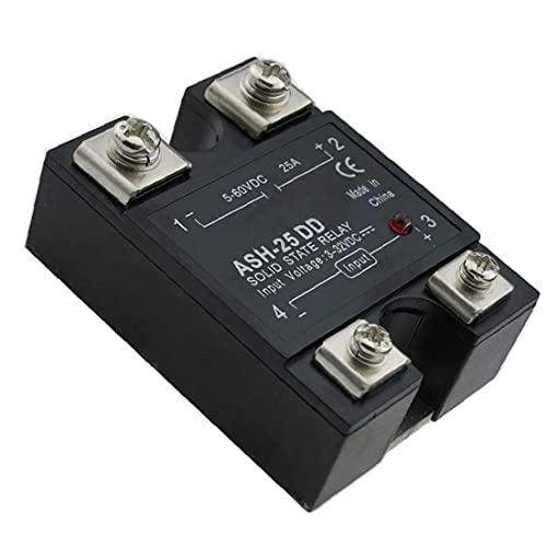 Monofásico relé de estado sólido sin contacto de interruptor de relé con la cubierta 25A 3-32VDC entrada 5-60VDC salida Modelo ASH-25DD Negro Equipo general Tensión