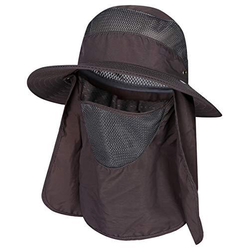 Fischer-Sonnenhut, 360° UV-Schutz, Safari, LSF 50+, schnell trocknend, abnehmbar, für Hals und Gesicht, Dunkelgrau