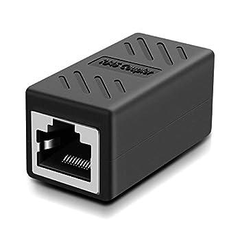 RJ45 Coupler Network Coupler for Cat7/Cat6/Cat5e/cat5 Ethernet Cable Extender Connector - Female to Female Black
