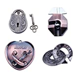 Metal hole lock adult children's educational toys Luban lock Metal Puzzles Brain Teaser Set IQ Disentanglement Toy Pack Magic Trick Game Lock Iron Wire Link Unlock Ring Gift Bundle Educational for Kid