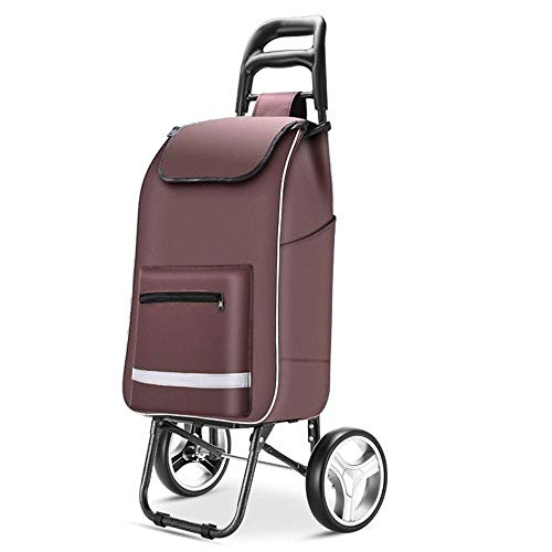 HTDZDX Carro De La Compra Plegable Carro De La Utilidad Plegable Portátil con Ruedas Carros De La Carretilla Carro De La Utilidad For El Viaje Compras Lavandería Libro Equipaje (Color : Brown)