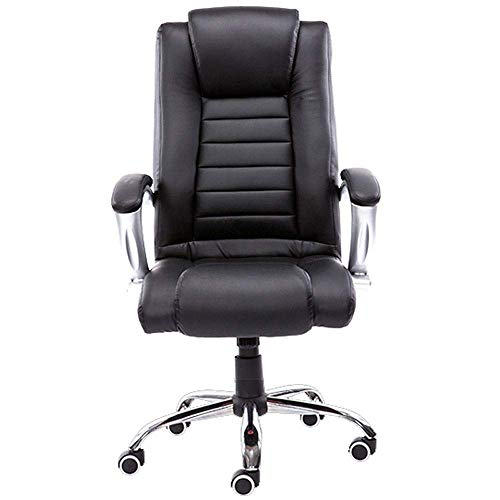 WSDSX Office Chairs High-Back Executive Office Chair, Office Swivel Chair Comfortable Ergonomic Faux Leather Desk Computer Chair with Arms (Color : Black)