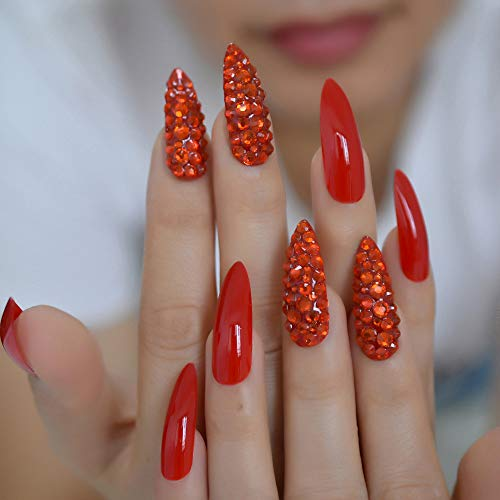 Chinese Red Luxury Fake Nails Full Cover Rhinestones Gorgeous Stiletto Long Custom Press On Nail Handmade Manicure Tips 24
