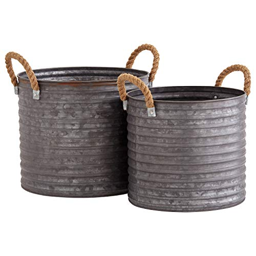 "Amazon Brand – Stone & Beam Vintage Metal Buckets, Set of 2, 9.58""H and 8.66""H, Galvanized"