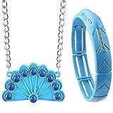 Asotagi Ensemble collier et bracelet serpent motif paon bleu
