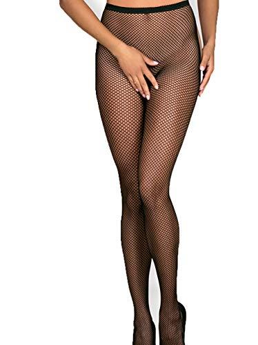 Obsessive. Erotische Stockings Frauen Dessous Strumpfhose halterlos Schnürung hinten offen Garter Mesh Schwarz ouvert transparent Größe: S-L