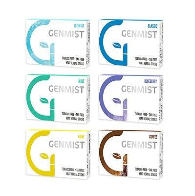 Genmist tabakfreie Heat Herbal Sticks für IQOS und ähnliche Tabakerhitzer, Hitze 6 verschiedene Sorten, Mix (6 Schachtel)