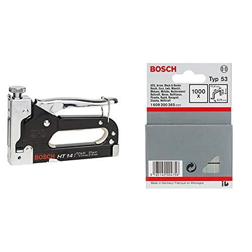 Bosch Professional Handtacker HT 14 (Holz, Klammertyp 53) & 1609200365 1000 Tackerklammern 8/11,4 mm Typ5