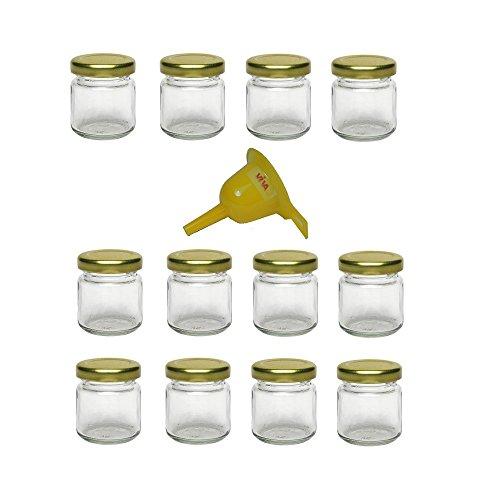 Viva Haushaltswaren G1010053/X Lot de 12 Petits Pots de Confiture avec Couvercle doré 53 ML + Entonnoir