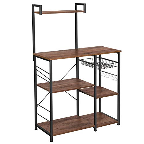 VASAGLE ALINRU Baker's Rack with Shelves, Kitchen Shelf with Wire Basket, 6 S-Hooks, Microwave Oven Stand, Utility Storage for Spices, Pots, and Pans, Hazelnut Brown and Black UKKS035B03