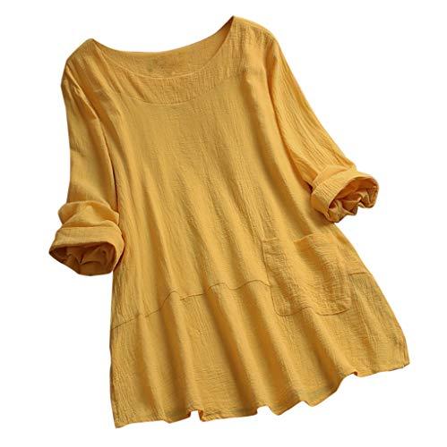 Zegeey Oberteil Damen Lose Bluse Shirt T-Shirt V-Ausschnitt Knopf Plissee Blumendruck LäSsige Tops Tunika Shirt(A6-Gelb,40 DE/L CN)