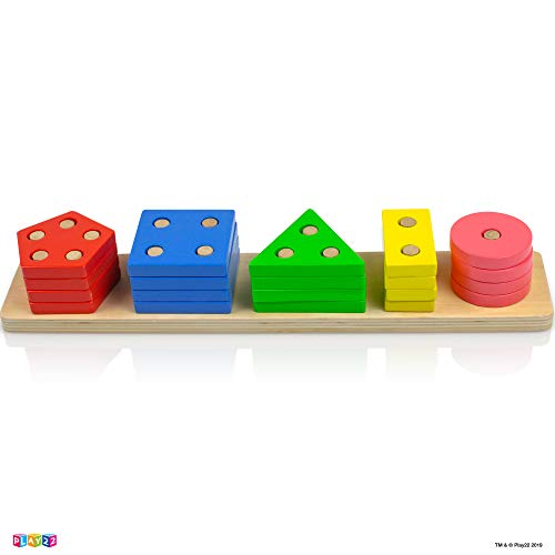 Play22 Shape Sorter Color Wooden Bard - Educational Toys for Toddlers - Kids Learning Toys Stack and Sort - 20 Pieces Geometric Board Chunky Puzzle Great Gift for Boys and Girls - Original