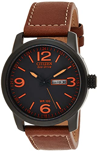 Citizen Eco-Drive GarrisonQuartz Mens Watch, Stainless Steel with Leather strap, Field watch, Brown (Model: BM8475-26E)