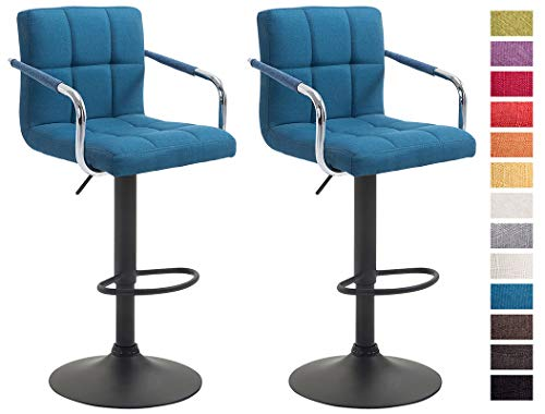 CLP Set De 2 Taburetes Lucy V2 En Tela I 2 Sillas De Bar Regulables En Altura I 2 Taburetes Altos con Reposabrazos & Reposapiés I Color: Azul, Negro