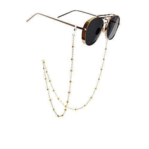 erioctry Brillenkette mit Perlen, rutschfest, für Damen und Herren, 78 cm, goldfarben