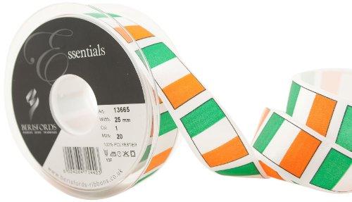 Berisfords 13665 Island band, 20 m x 25 mm, oranje/wit/groen