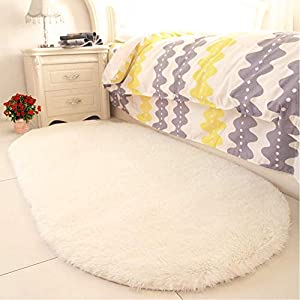 YJ.GWL High Pile Soft Shaggy Area Rugs for Nursery Bedroom Floor Baby Fluffy Carpets Anti-Slip Home Decor Rugs 2.6′ X 5.3′ Oval Creamy