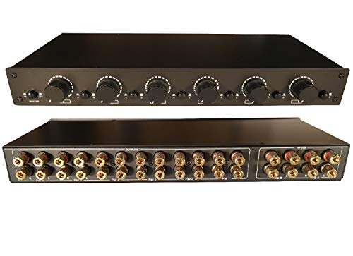 2 Amp x 6 Pair Speaker Selector Switch Switcher Volume Control, Commercial Grade Brass Jacks