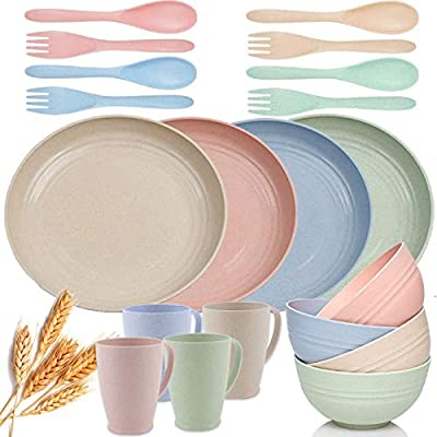 20pcs Wheat Straw Dinnerware Sets Reusable, Microwave Safe Plates and Bowls Sets Unbreakable, Cereal Bowls and Cups with Forks and Spoons Eco-Friendly