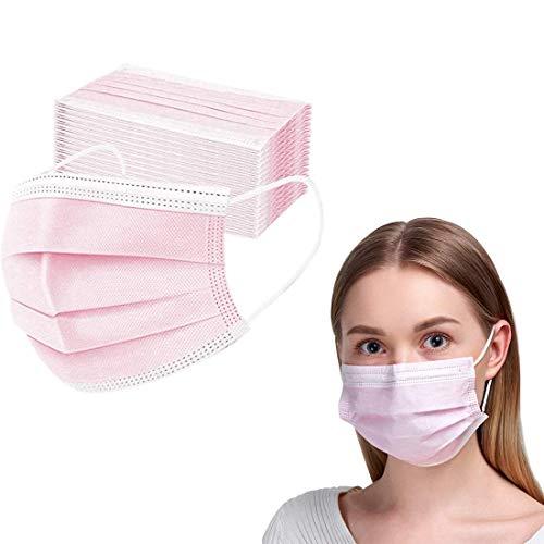 50 Stück Einweg-Gesichtsmasken mit elastischer Ohrschlaufe, 3-lagige Ohrschlaufe, atmungsaktiv, Vlies-Mundbedeckung für Zuhause, Park, Büro