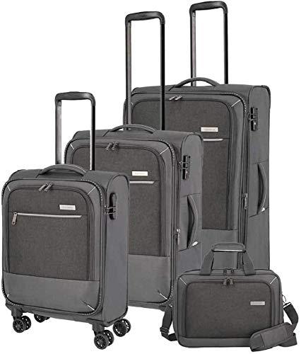 """Travelite Reisegepäck-Serie """"ARONA"""" attraktive Trolleys und Bordtaschen in 3 Farben Koffer-Set, 77 cm, 195 L, Anthrazit"""