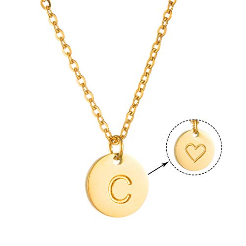 AFSTALR Women Gold Letter Necklace Love Heart Initial Necklace Name Personalized jewellry for Girls Love Gift for Girlfriend Letter Pendant C Gold
