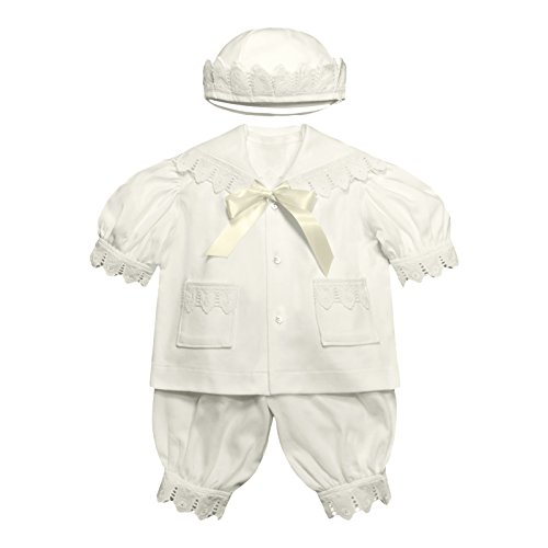 Victorian Organics Baby Boy Sailor Set 4 Piece Organic Cotton Knit and Eyelet Lace Trim Jacket Hat Bodysuit and Pantaloons (NB 0-3 Months) Antique-White
