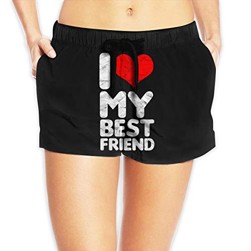 OLS My Best Friend Women's Quick Dry Shorts Swim Trunk,Sexy High Waist Beach Surf Swimwear Boardshorts