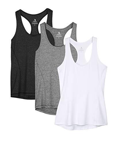 icyzone - Camiseta deportiva de tirantes para mujer, espalda cruzada para yoga, para correr, fitness, camiseta multifunción, 3unidades negro, gris y blanco. S