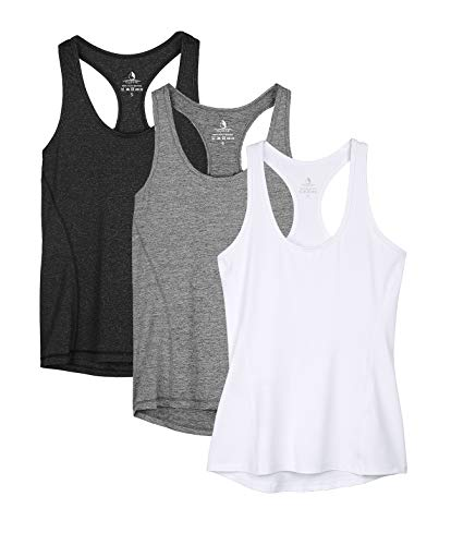icyzone - Camiseta deportiva de tirantes para mujer, espalda cruzada para yoga, para correr, fitness, camiseta multifunción, 3unidades negro, gris y blanco. L