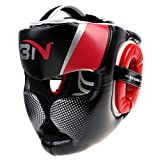 SFEEXUN Headgear Headguard for Boxing MMA Training Kickboxing, Head Gear Head Protection Helmet for Muay Thai, Grappling, Sparring, Karate, Taekwondo, Martial Arts (Red, L)