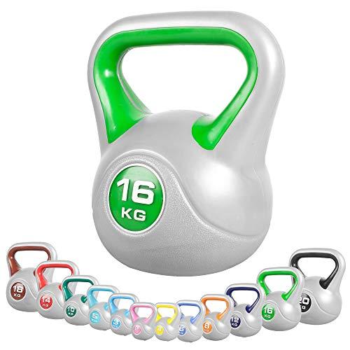GORILLA SPORTS® Kettlebell Stylish 2-20 kg Kunststoff – Fitness-Kugelhantel 16 kg