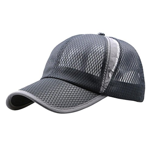 Voberry Men and Women Snapback Baseball Cap Outdoor Sports Mesh Hat (Gray)