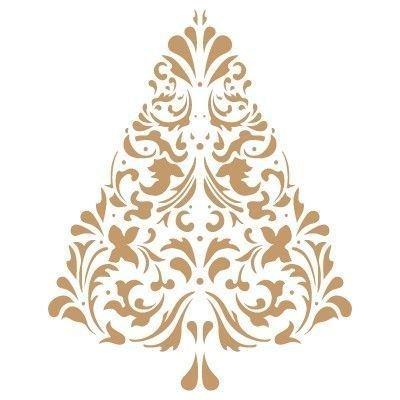 Stencil Deco Festa 026 Natale Albero. Misure: Dimensioni Esterne dello Stencil: 20 x 20 (cm) Misure Design: 1,04 x 13 (cm)